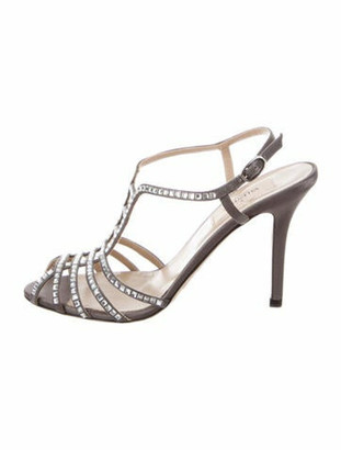 Valentino Crystal Embellishments T-Strap Sandals Grey