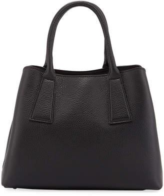 Neiman Marcus Minimalist Pebbled Leather Satchel Tote Bag