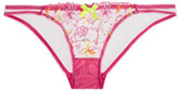 L'Agent by Agent Provocateur Ffion Embroidered Tulle Briefs - Bright pink