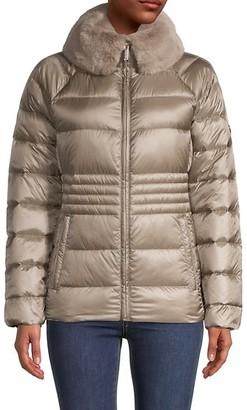 MICHAEL Michael Kors Qulted Down-Fill Faux Fur-Trim Jacket