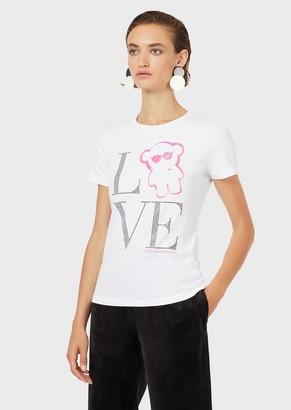 Emporio Armani Manga Bear Love Jersey T-Shirt With Micro-Studs