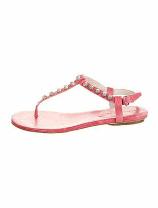 Balenciaga Leather Studded Accents T-Strap Sandals Pink