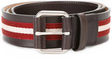 Bally stripe panel belt - men - Cotton/Calf Leather - 90