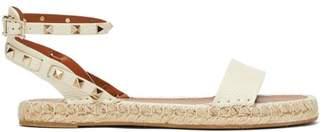 Valentino Rockstud Leather Espadrille Sandals - Womens - Cream