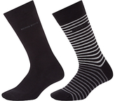 Hugo Boss Boss Stripe Plain Socks, Pack Of 2, Black/grey