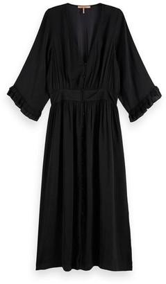 Scotch & Soda Midi Length V Neck Dress Black - small