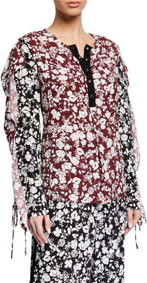 Yigal Azrouel Celosia Snap Floral Blouse w/ Self-Tie Cuffs