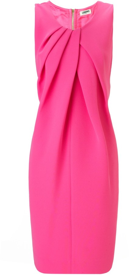 L'Agence Hot Pink Drape Front Dress
