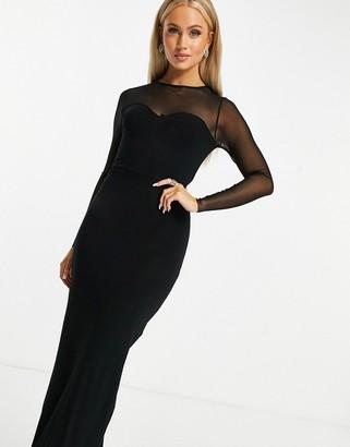 ASOS DESIGN long sleeve mesh yoke maxi dress in black
