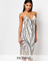 Club L Midi Dress With Cami Strap In Sequin