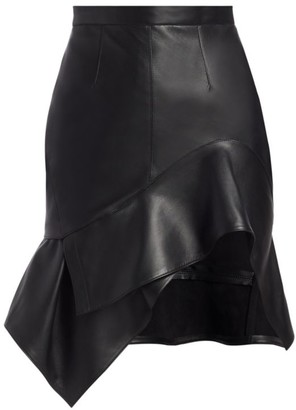 Alexander Wang Deconstructed Leather Ruffle Mini Skirt