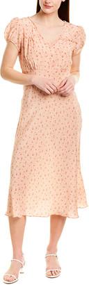 LoveShackFancy Meg Silk Midi Dress
