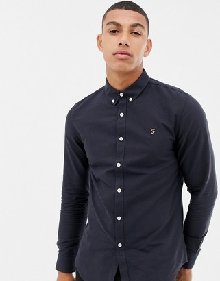 Farah Brewer slim fit oxford shirt in navy