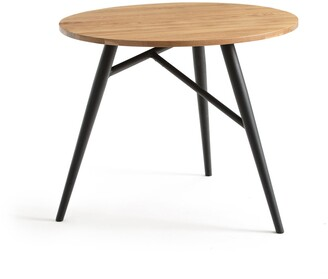 La Redoute Interieurs Crueso Oak-Topped Round Table, Seats 3