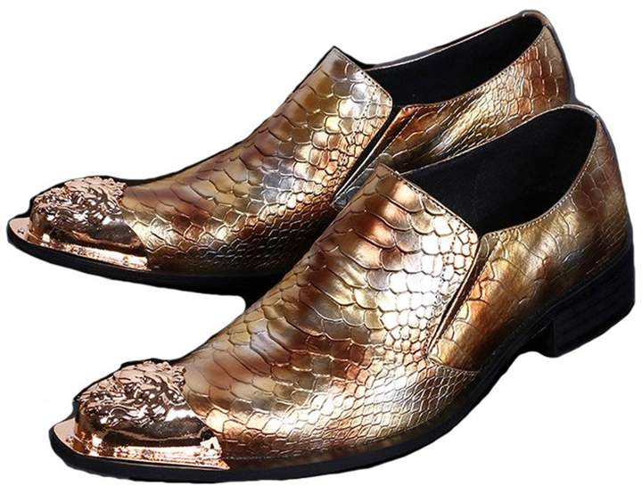 Cover Plus US Size 5-12 New Alligator Print Leather Metal Toe Mens Dress Loafers Shoes