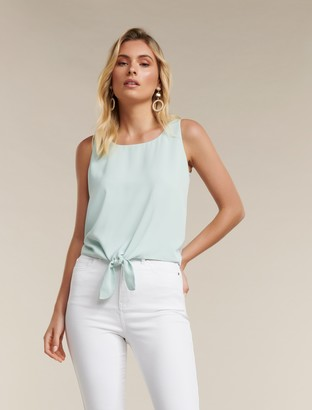 Forever New Mila Scoop Neck Tie-Front Top - Pale Sage - xxs