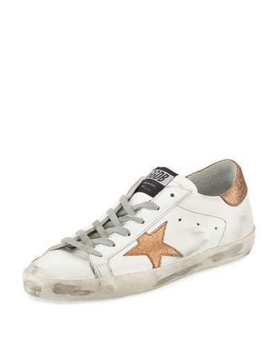 Golden Goose Superstar Leather Low-Top Platform Sneaker with Glitter Star