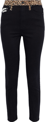 Alice + Olivia Good Cropped Patchwork High-rise Skinny Jeans