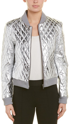 Nicole Miller Artelier Leather Bomber Jacket