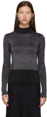 Victoria Victoria Beckham Navy and Black Wool Lurex Turtleneck
