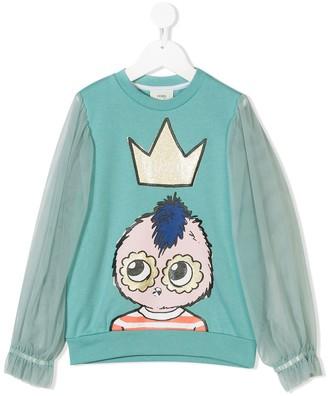 Fendi Kids Sheer-Sleeve Printed Sweatshirt