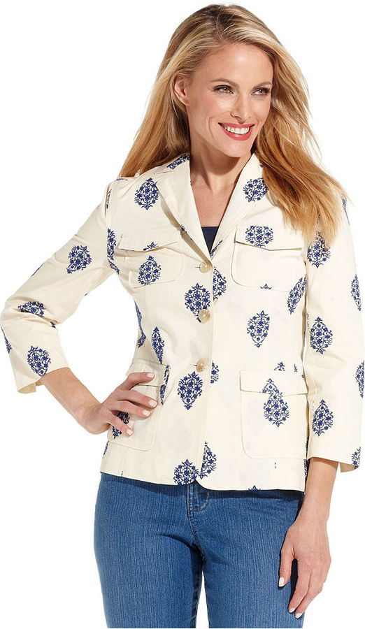 Charter Club Jacket, Three-Quarter-Sleeve Embroidered Blazer