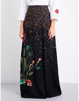 Vilshenko Ladies Black Floral Lightweight Carmen Floral-Print Silk Maxi Skirt