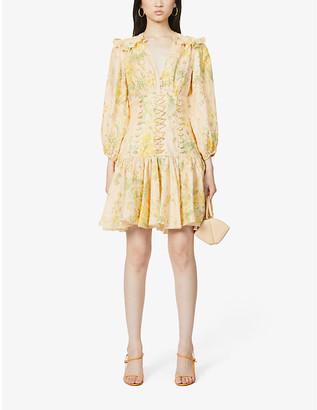 Zimmermann Amelie floral-print V-neck linen mini dress