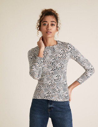 Marks and Spencer Pure Cotton Star Print Regular Fit Top