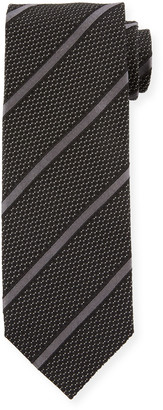 Tom Ford Striped 8cm Silk-Cotton Tie, Black