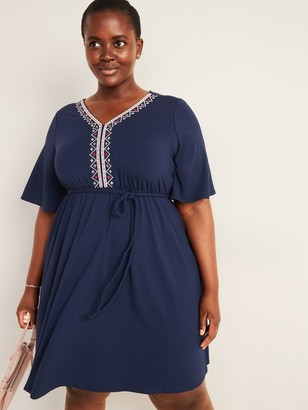 Old Navy Waist-Defined Embroidered Tie-Belt Plus-Size Dress