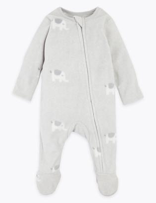 Marks and Spencer Fleece Elephant Print Sleepsuit (7lbs-12 Mths)