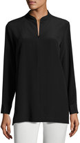 Misook Mandarin-Collar Half-Zip Silk Tunic, Black