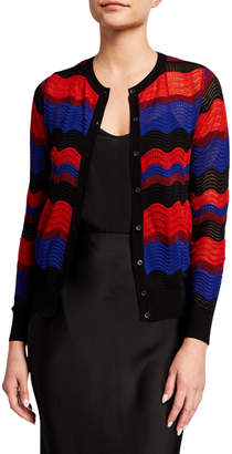 M Missoni Wave Pattern Wool-Blend Cardigan