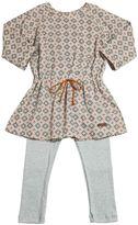Sticky-Fudge Cotton Poplin Dress & Knitted Leggings