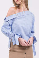 J.o.a. Checked One Shoulder Top