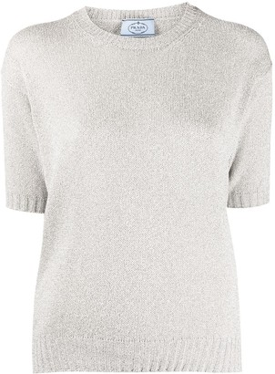 Prada Knitted Short-Sleeve Top