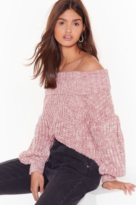 Nasty Gal Womens Knit's a Winner Off-the-Shoulder Sweater - Blush