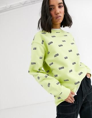 Obey boyfriend sweatshirt with all over logo