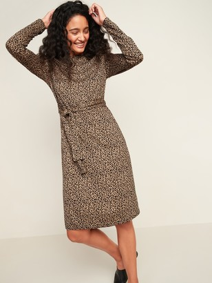 Old Navy Jersey-Knit Tie-Waist Midi Sheath Dress for Women