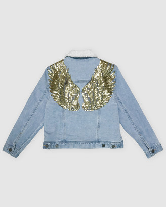 Gelati Jeans Madonna Sherpa Angel Wings Jacket