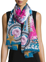 Givenchy Paradise Flower Silk Chiffon Scarf, Blue