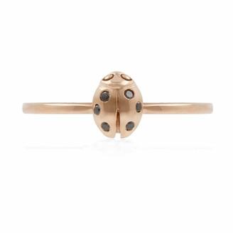 Lee Renee Ladybird Black Diamond Ring/Wings Closed -Rose Gold