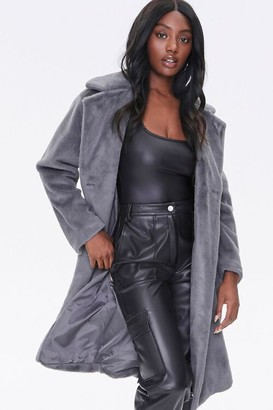 Forever 21 Faux Fur Button-Front Trench Coat