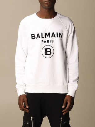 Balmain Cotton Sweatshirt With Flock Logo