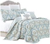 Serenta Tivoli Ikat Quilted 5 Piece Bed Spread Set, Teal Aqua, Floor Touching