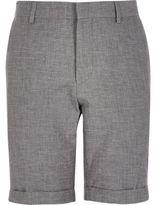 River Island MensGrey textured linen-blend smart shorts