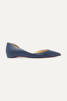 Christian Louboutin Iriza Leather Point-toe Flats - Mid denim
