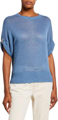 Brunello Cucinelli Linen-Silk Sequined Crewneck Sweater