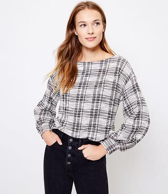 LOFT Plaid Boucle Puff Sleeve Sweatshirt